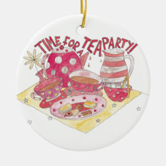 Time For A Tea Party Round Ceramic Decoration