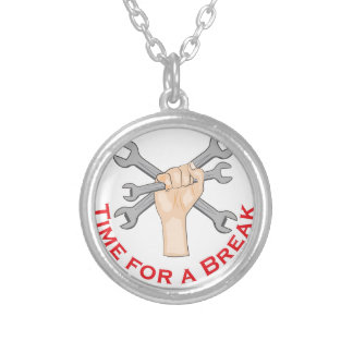 Time For Break Round Pendant Necklace