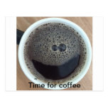 Time for coffee smiley face post card