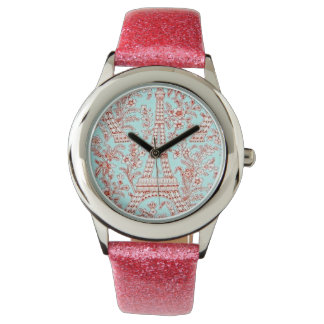 Time for Paris! Pink Glitter Watch