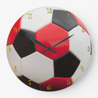 Time for Soccer, Red Black & White Large Clock
