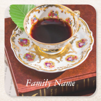 Time for Tea Design Square Paper Coaster