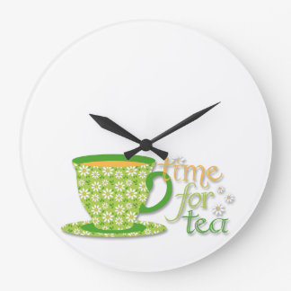 Time For Tea Green Daisy Cup Large Clock