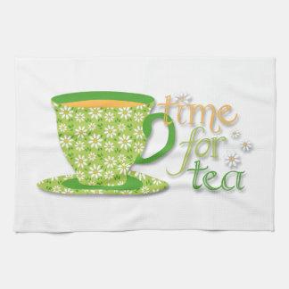 Time For Tea Green Daisy Cup Tea Towel