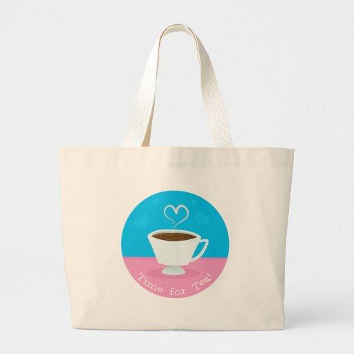 Time for Tea heart teacup Canvas Bag