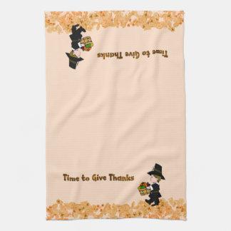 Time for Thanksgiving  Pilgrim Towels