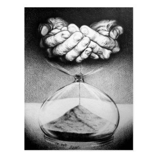 """Time"" hourglass surreal drawing Postcard"