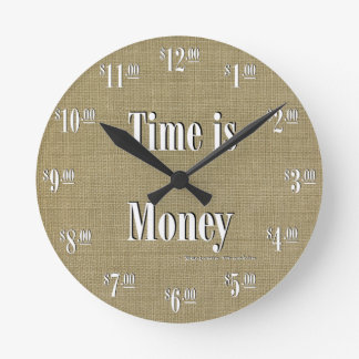 Time is Money Clock - White text on taupe texture