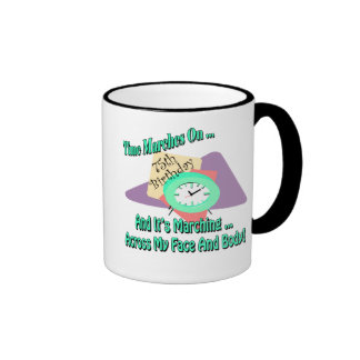 Time Marches On 75th Birthday Gifts Ringer Mug