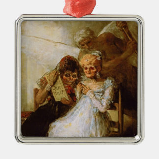 Time of the Old Women Francisco José de Goya Silver-Colored Square Decoration