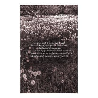 """Time Passes"" 2 Peter 3 v8-9 New Testament Garden Stationery"