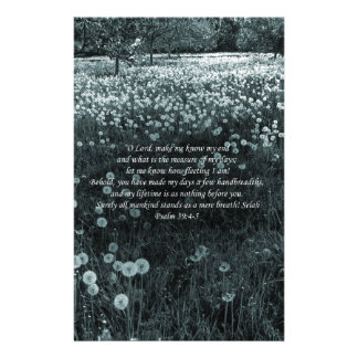 Time Passes Greyish Blue Landscape with Psalm 39 Stationery Paper