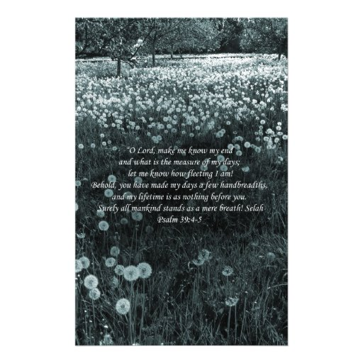 Time Passes Greyish Blue Landscape with Psalm 39 Customized Stationery