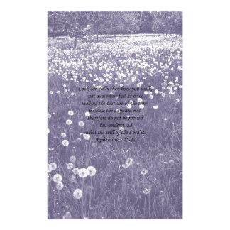 """Time Passes"" Purple Dandelion Clock Ephesians 5 Customised Stationery"