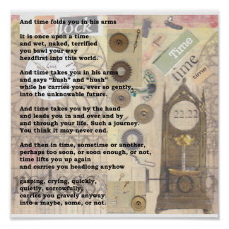 Time. Poem and collage by Shirley Bell Poster