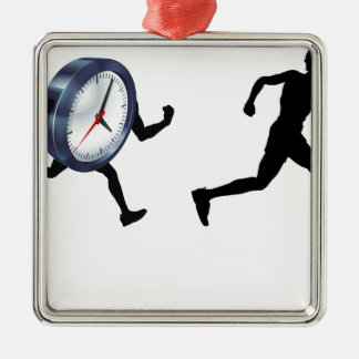 Time Race Against Clock Concept Silver-Colored Square Decoration