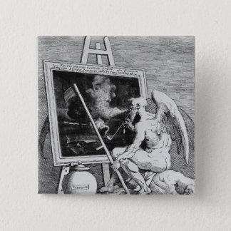 Time smoking a Picture, 1761 15 Cm Square Badge