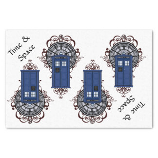 Time & Space Blue British Police Box Steampunk Tissue Paper