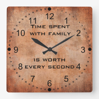 Time Spent with Family Quote Clock