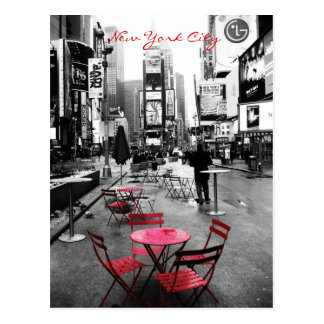 Time Square Black White Red Postcard