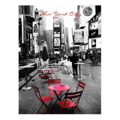 Time Square Black White Red Postcard