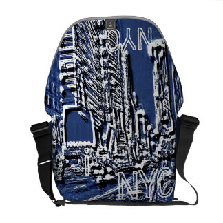 Time Square NYC Blue Messenger Bag
