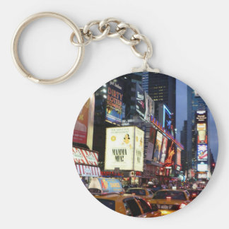 Time Square Taxis Basic Round Button Key Ring