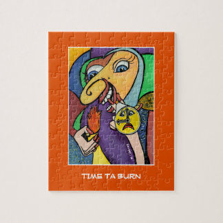 Time Ta Burn On Orange  - Time Pieces Jigsaw Puzzle