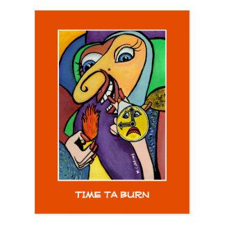 Time Ta Burn On Orange  - Time Pieces Postcard