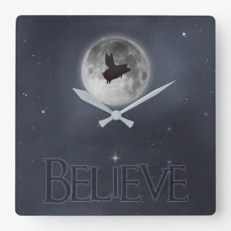time to believe-flying pig clock