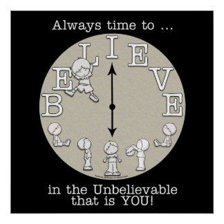 Time To Believe-Little Boy and Clock Print