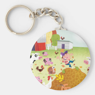 Time to Count - Farmyard Basic Round Button Key Ring