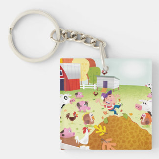 Time to Count - Farmyard Double-Sided Square Acrylic Key Ring
