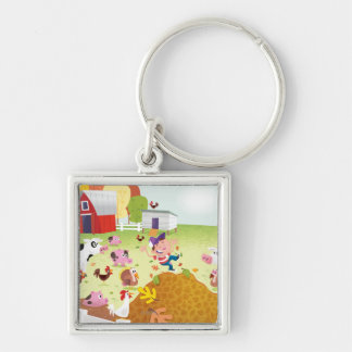 Time to Count - Farmyard Silver-Colored Square Key Ring