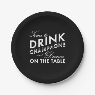 Time to Drink Champagne - black Paper Plate