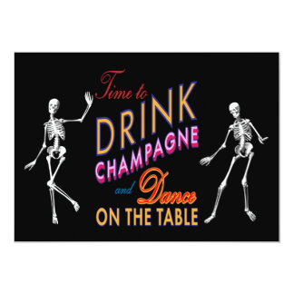 Time to Drink Champagne Colorful Halloween Wedding Card