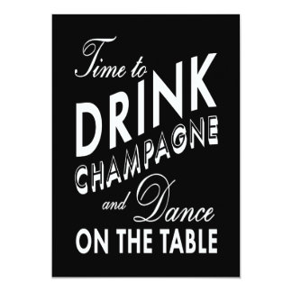 Time to Drink Champagne Holiday Invite (black)