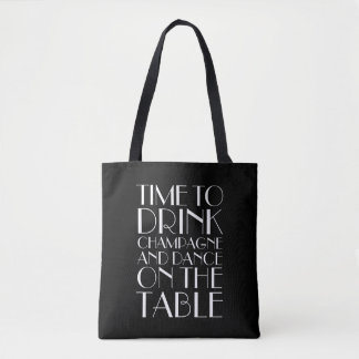 Time to Drink Champagne Tote - black