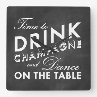 Time to Drink Champagne Wall Clock on Chalkboard