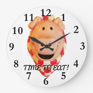 Time To Eat, Cute Pig Large Clock