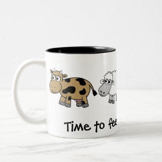 Time to feed the animals! Virtual Farmers Two-Tone Mug