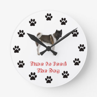Time to feed the dog Akita Round Clock