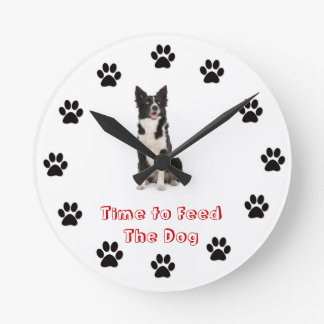 Time to feed the dog Border Collie Round Wallclocks