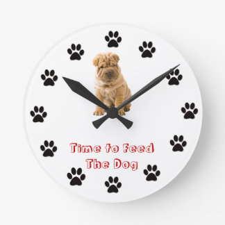 Time to feed the dog Chinese Shar Pei Round Clock