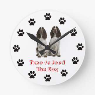 Time to feed the dog English Springer Spaniel Round Clock