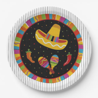 Time To Fiesta HHM Party Paper Plates 9 Inch Paper Plate