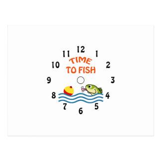 TIME TO FISH CLOCK POSTCARD