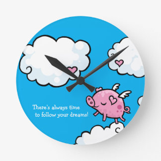 Time to follow your dreams flying pig wall clock