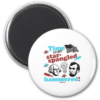 Time to get Star-Spangled Hammered 6 Cm Round Magnet