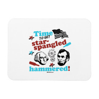 Time to get Star-Spangled Hammered Rectangular Photo Magnet